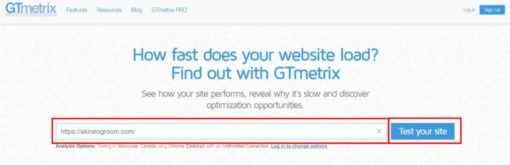 GTmetrixの使用方法1