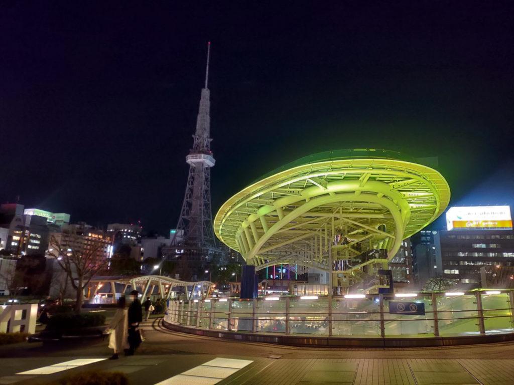 ZenFone6で撮ったオアシス21の写真(夜間)