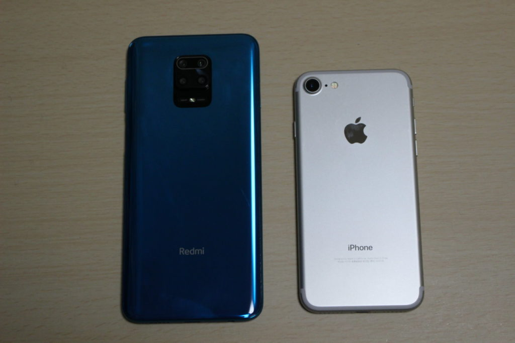 Redmi Note 9SとiPhone7