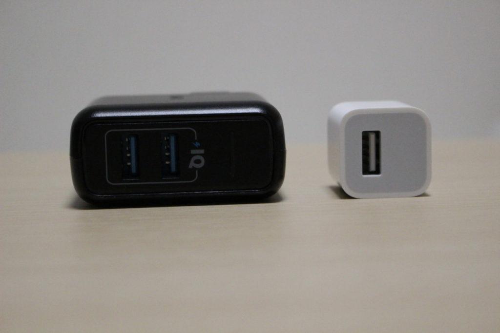 Anker PowerPort 2 EliteとiPhone7付属のUSBアダプタ2
