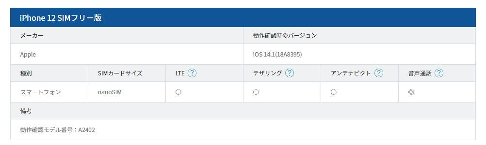 「iPhone 12」の動作確認(DMMモバイル)