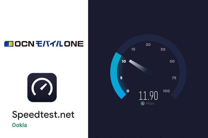 OCNモバイルONEの速度測定