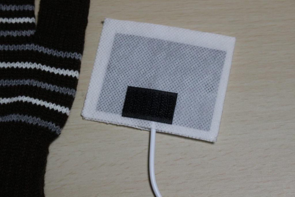 USBヒーター付き指なし手袋のUSBヒーター