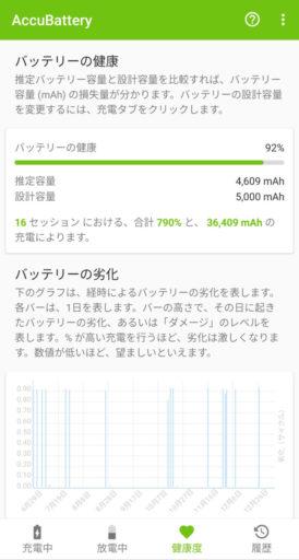 ZenFone6のバッテリー健康度をAccuBatteryで確認