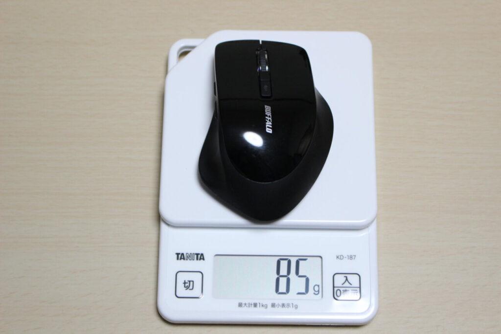 BUFFALOのワイヤレスマウス「BSMBW325」の重さ