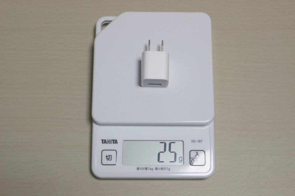 iPhone7付属充電器の重さ