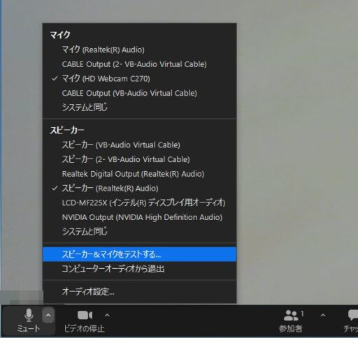Zoomのテストミーティング(パソコン版)(9)