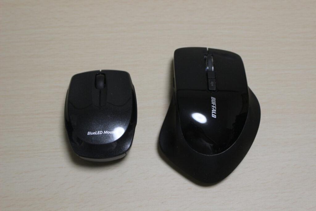 エレコムのマウス「M-FBL3BBS」とBuffaloのマウス「BSMBW325」