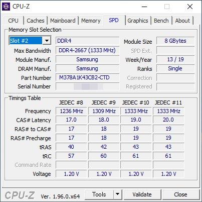 「CPU-Z」でのメモリ