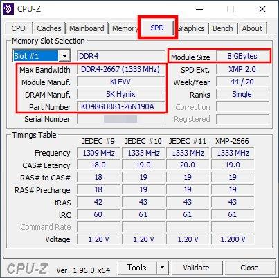 「CPU-Z」「SPD」タブ