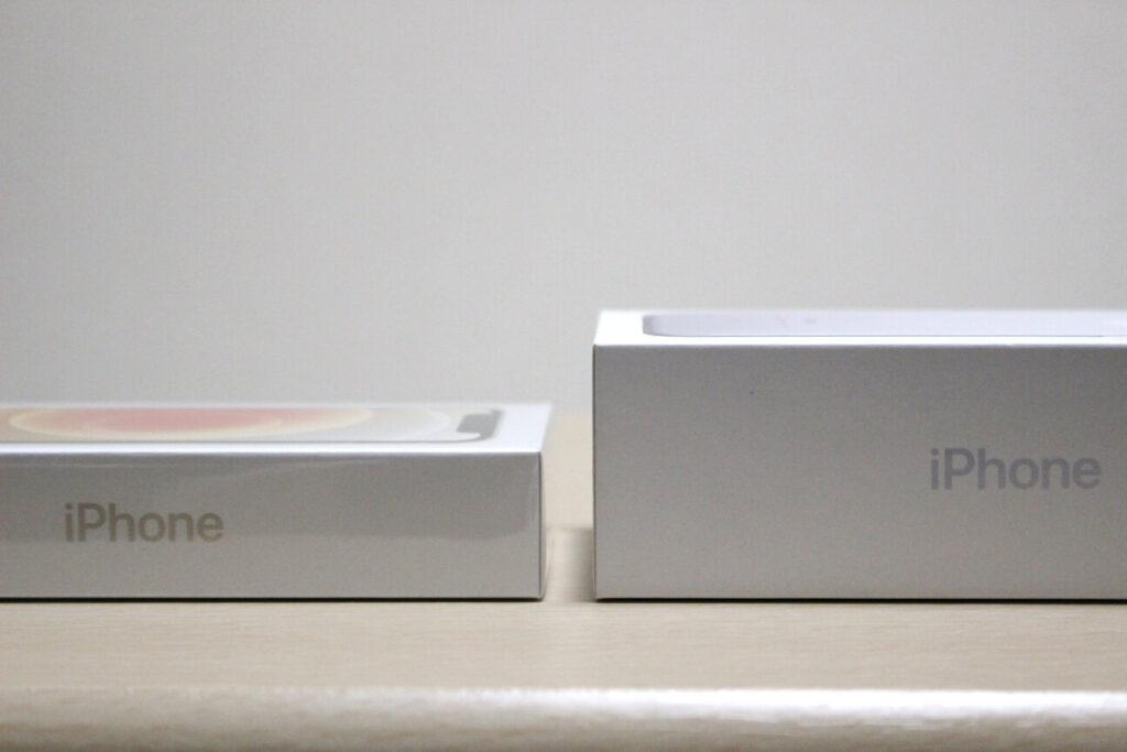 「iPhone12mini」と「iPhone7」の箱