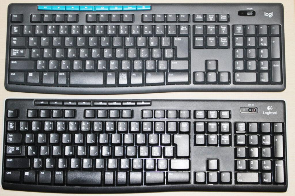 ロジクールのワイヤレスキーボード「K275」と「K270」の表面
