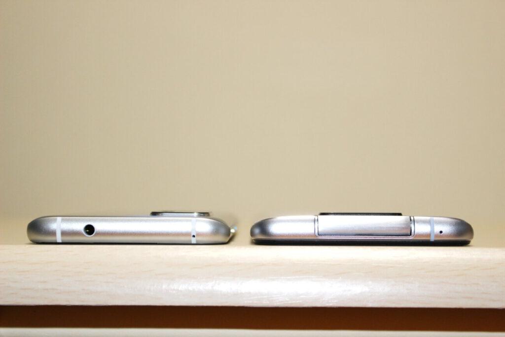 「Zenfone 8」(左)と「ZenFone 6」(右)ー厚さー